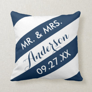 Modern Stripes Personalized Throw Pillow / Navy