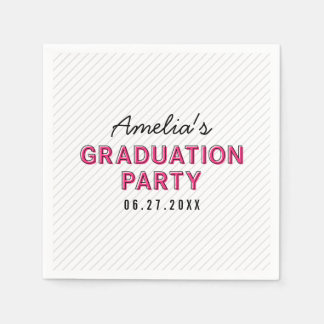 Modern Stripes Pink Graduation Party Disposable Serviettes