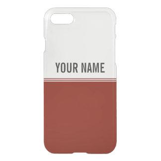 Modern Stripes Regal Red Custom Name iPhone 7 Case