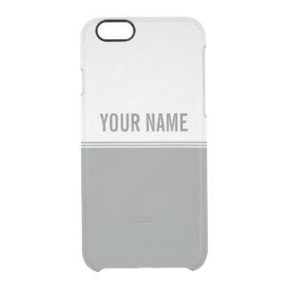 Modern Stripes Sleek Silver Custom Name Clear iPhone 6/6S Case