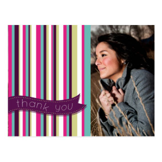 Modern Stripes Teacher Thank You Photo Postcard