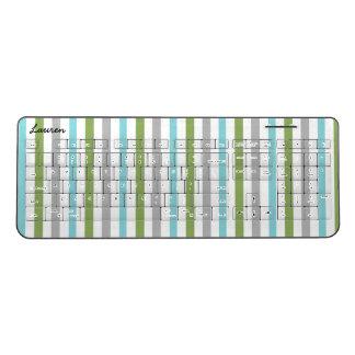 Modern stripes, trendy office decor, name wireless keyboard