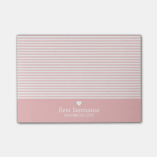 Modern Stripes with Upscale Heart Monogram Post-it® Notes