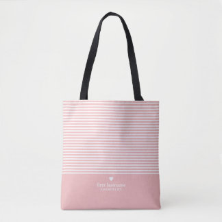 Modern Stripes with Upscale Heart Monogram Tote Bag