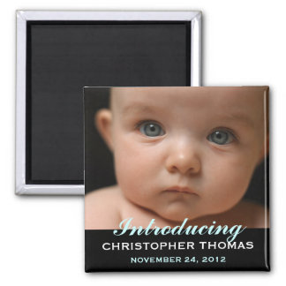 Modern Style Baby Birth Announcement Photo Square Magnet