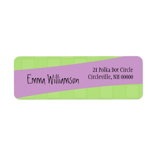 Modern Style Green Squares and Purple Return Address Label