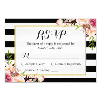 Modern Stylish Black White Stripes Floral RSVP Card
