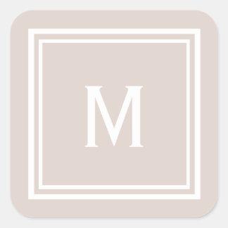 Modern Stylish Blush Custom Monogram Square Sticker