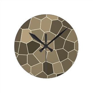Modern Stylish Brown Pattern Round Clock