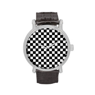 modern stylish checkered pattern wristwatch