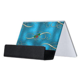 Modern & Stylish Christmas Swirls Desk Business Card Holder