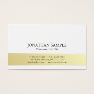 Modern Stylish Gold and White Simple Plain Trendy Business Card
