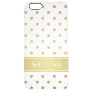 Modern Stylish Gold Glitter Polka Dots Clear iPhone 6 Plus Case