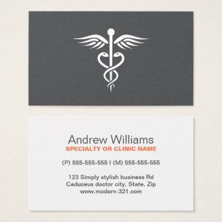 Modern stylish gray medical doctor caduceus business card
