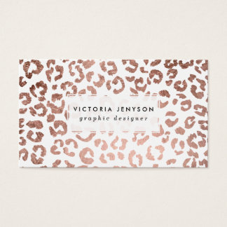 Modern stylish hand drawn rose gold leopard print business card