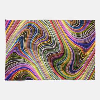 Modern Stylish Multicolor Curvy Lines Tea Towel