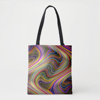 Modern Stylish Multicolor Curvy Neon Lines Tote Bag