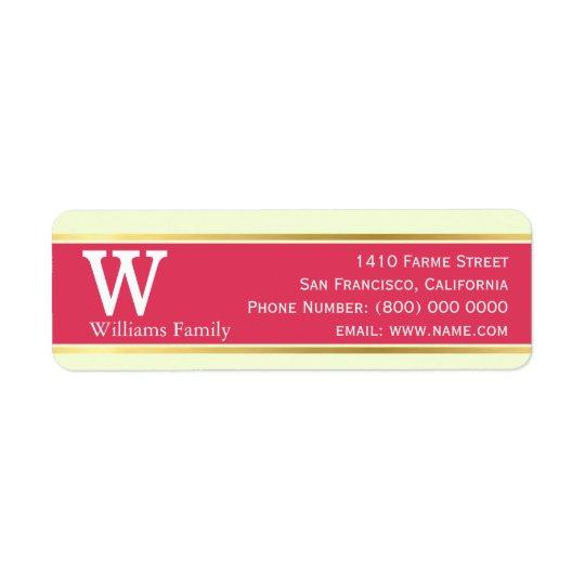 modern & stylish, pastel red, monogrammed return address label