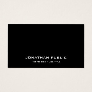 Modern Stylish Professional Plain Black And White Business Card