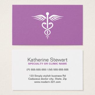 Modern stylish purple medical doctor caduceus business card