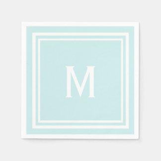 Modern Stylish Robin's Egg Blue Custom Monogram Disposable Napkin