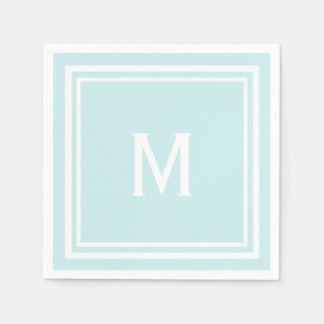 Modern Stylish Robin's Egg Blue Custom Monogram Disposable Serviettes