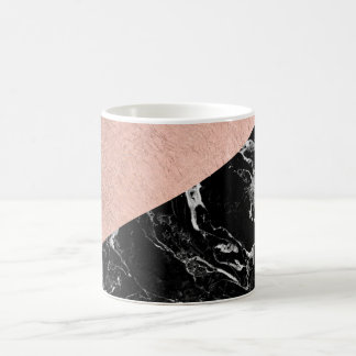 Modern stylish rose gold black marble color block coffee mug