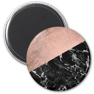 Modern stylish rose gold black marble color block magnet