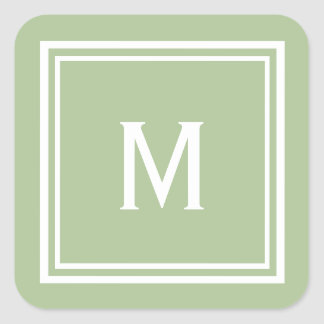 Modern Stylish Sage Green Custom Monogram Square Sticker