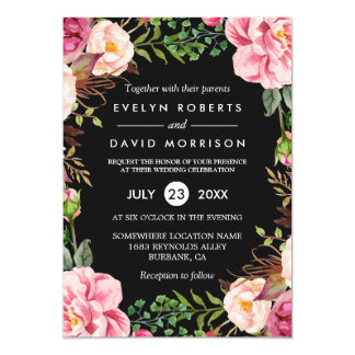Modern Stylish Spring Wedding Floral Wreath Card