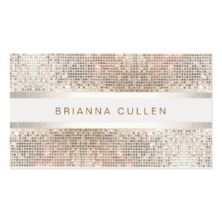 Modern Stylish Stripes Silver Sequin Pack Of Standard Business Cards