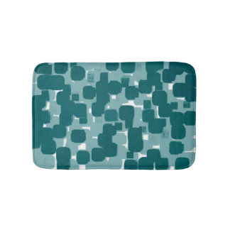 Modern Stylish Teal Abstract Pattern Bath Mat