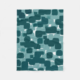 Modern Stylish Teal Abstract Pattern Fleece Blanket
