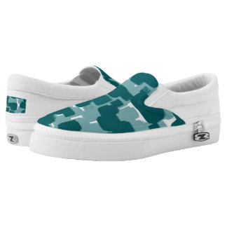 Modern Stylish Teal Abstract Pattern Slip On Shoes