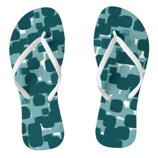 Modern Stylish Teal Abstract Pattern Thongs
