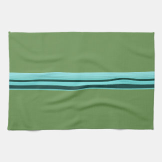 Modern Stylish Teal Green Striped Pattern Tea Towel
