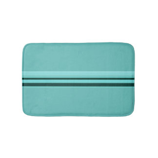 Modern Stylish Teal Striped Pattern Bath Mat