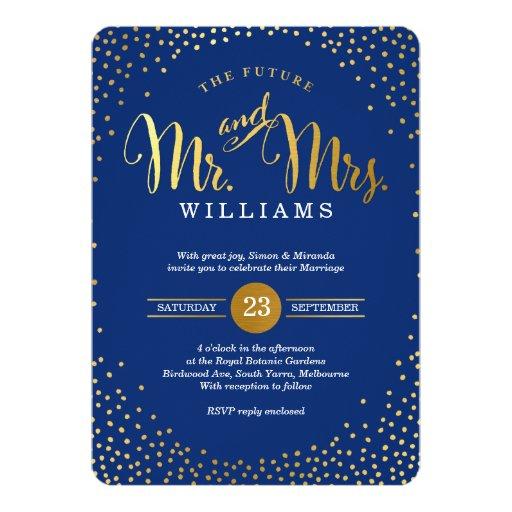 MODERN STYLISH WEDDING Gold Confetti Navy Blue 13 Cm X 18 Cm Invitation Card