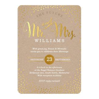 MODERN STYLISH WEDDING mini gold confetti kraft 13 Cm X 18 Cm Invitation Card