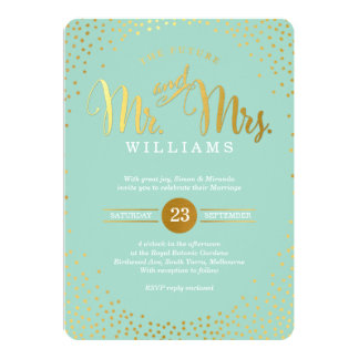 MODERN STYLISH WEDDING mini gold confetti mint Card