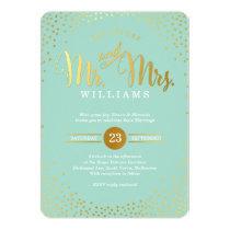 MODERN STYLISH WEDDING mini gold confetti mint 13 Cm X 18 Cm Invitation Card