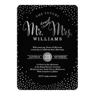 MODERN STYLISH WEDDING mini silver confetti black 13 Cm X 18 Cm Invitation Card