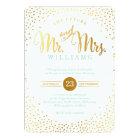 MODERN STYLISH WEDDING mini silver confetti mint Card