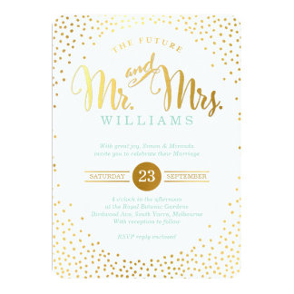 MODERN STYLISH WEDDING mini silver confetti mint Card