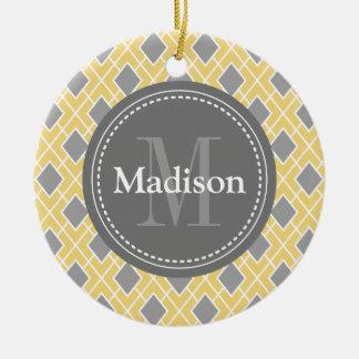 Modern Stylish Yellow Grey Diamond Pattern Round Ceramic Decoration