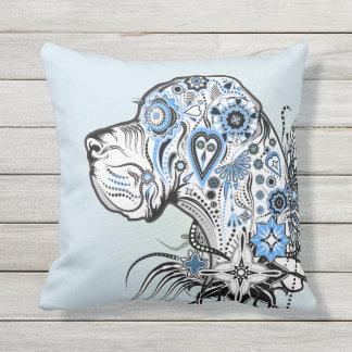 Modern Sugar Skull Great Dane Pillow