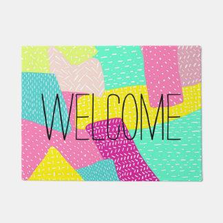 Modern summer color block hand drawn pattern doormat