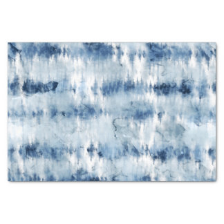Modern summer navy blue tie dye watercolor tissue paper
