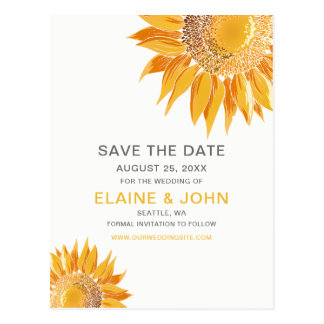 Modern SunFlower Wedding Save the Date Postcard