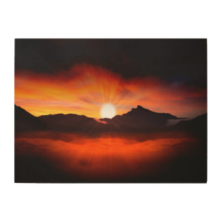 Modern Sunset Nature Wood Canvases